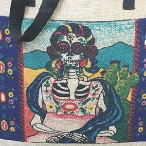 Bags - Large Sugar Skull Day of the Dead Canvas Tote